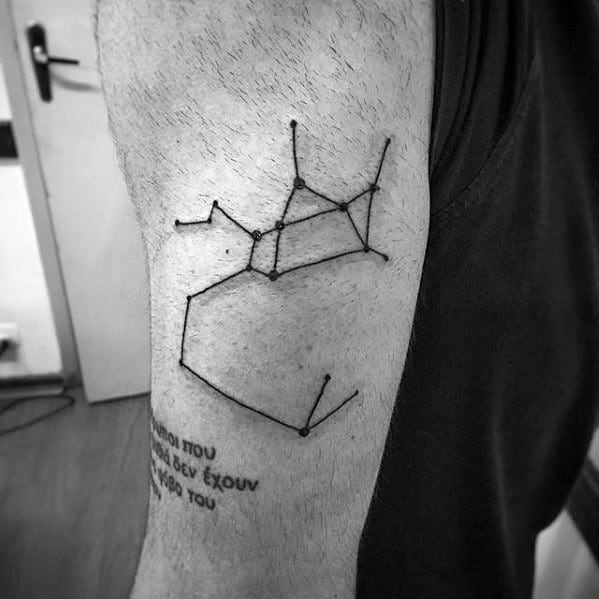 Simple Line Constellation Star Tattoo For Guys On Outer Arm