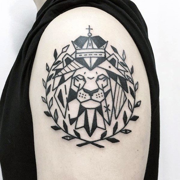Simple Lion Head With Olive Branches Unique Upper Arm Mens Tattoos