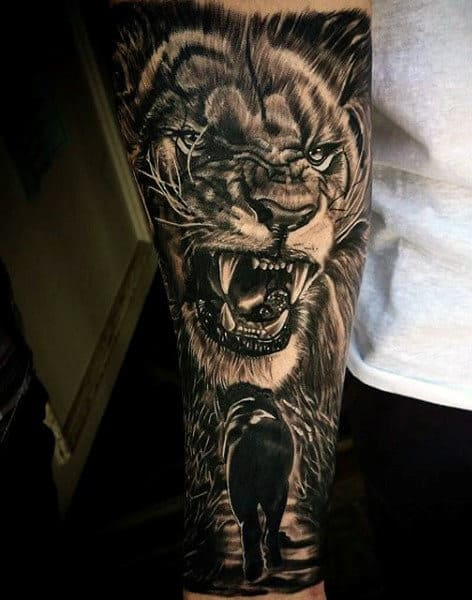 85 lion tattoos for men a jungle of big cat designs. Black Bedroom Furniture Sets. Home Design Ideas