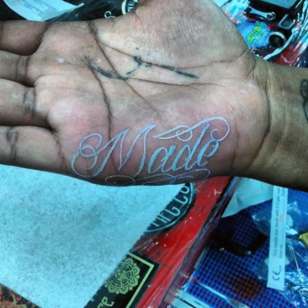 Simple Made Lettering White Ink Male Hand Tattoos