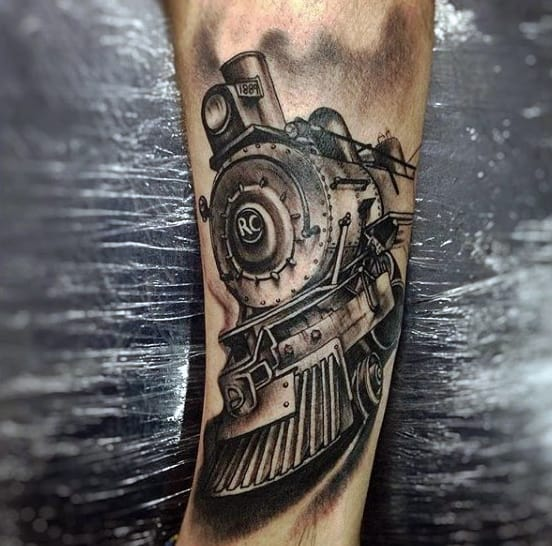 Simple Male Train Tattoo On Forearm