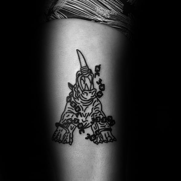 Simple Mens Awesome Rhino With Chains Arm Tattoo