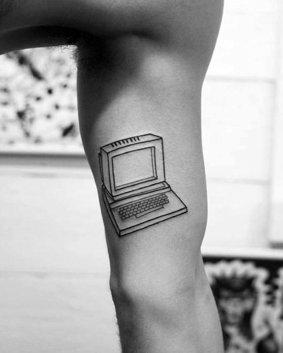Simple Mens Black Ink Outline Computer Tattoo Designs On Inner Arm Bicep