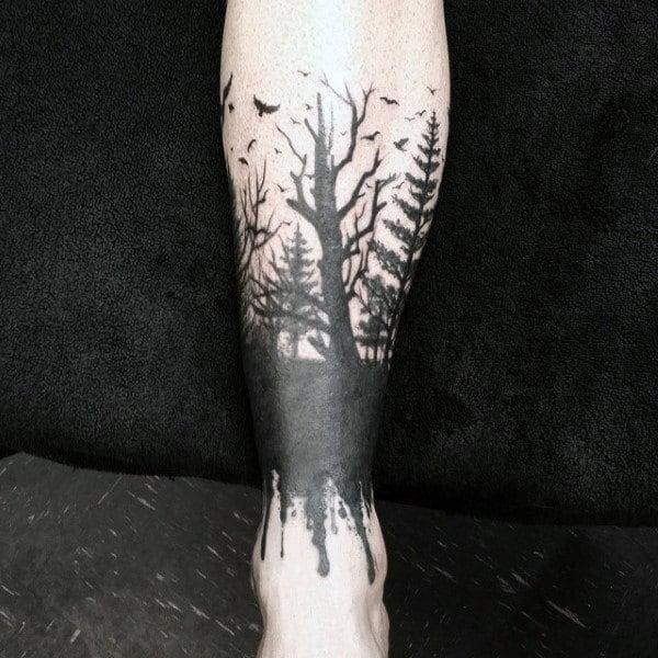 Simple Men's Pine Tree Tattoo
