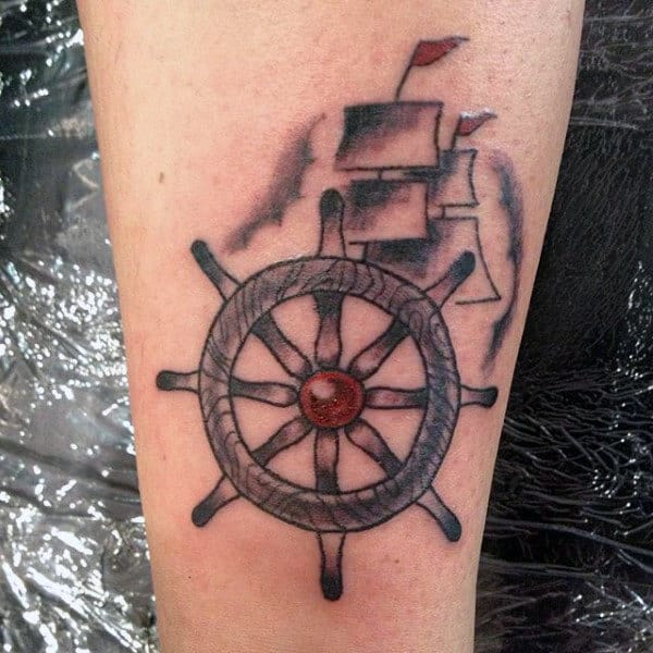 Simple Mens Sailing Ship And Wheel Tattoo On Inner Forearm