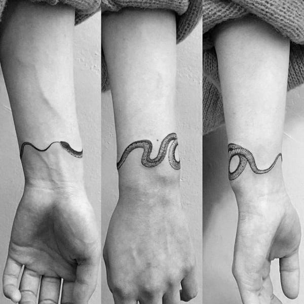 Simple Mens Snake Ouroboros Wrist Tattoos
