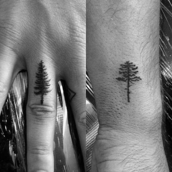 Simple Mens Tree Tattoo Design On Finger
