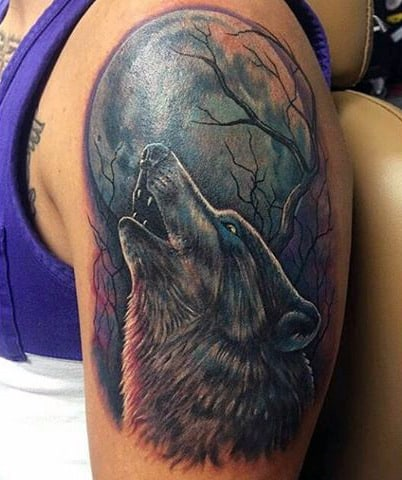 Simple Men's Wolf Tattoo
