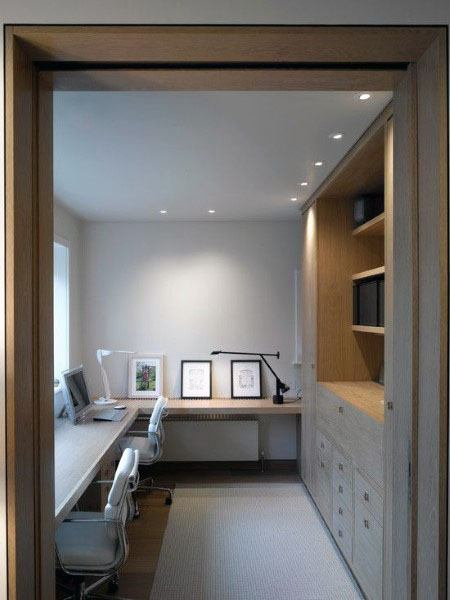 Simple Modern Home Office With Bookcases