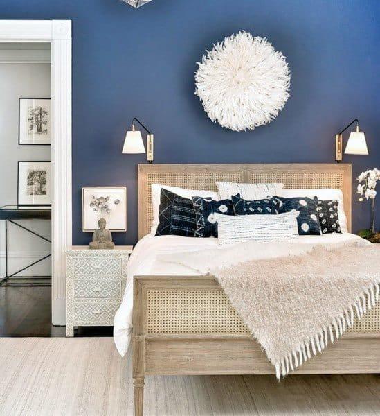 Top 50 Best Navy Blue Bedroom Design Ideas - Calming Wall Colors