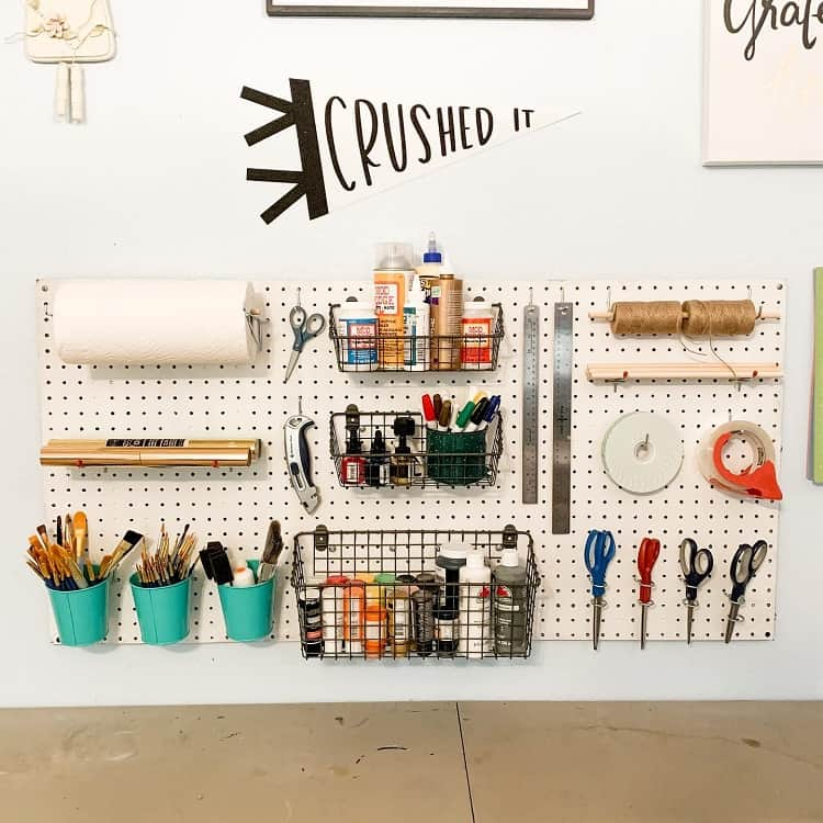 Simple Organization Pegboard Craft Room