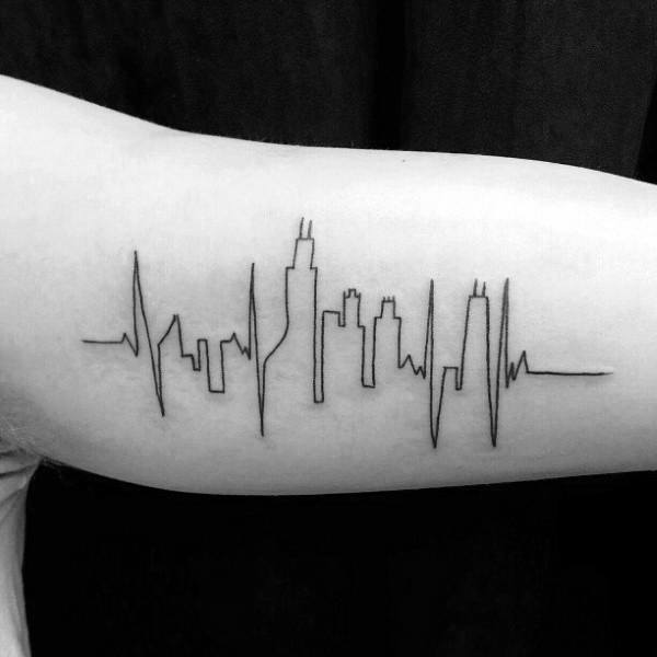 Simple Outline Chicago Skyline Male Tattoo On Bicep