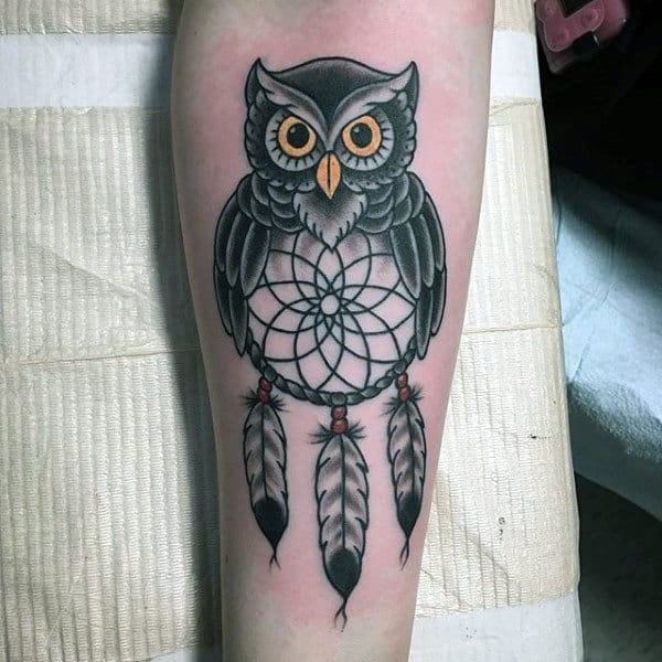 Simple Owl Dreamcatcher Feather Tattoo For Guys
