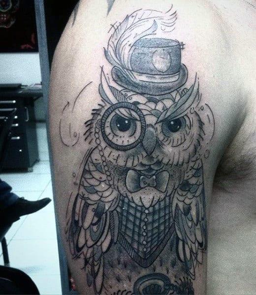 Simple Owl Tattoo On Man Arm