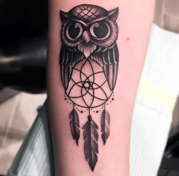Simple Owl With Dreamcatcher Forearm Guys Tattoos