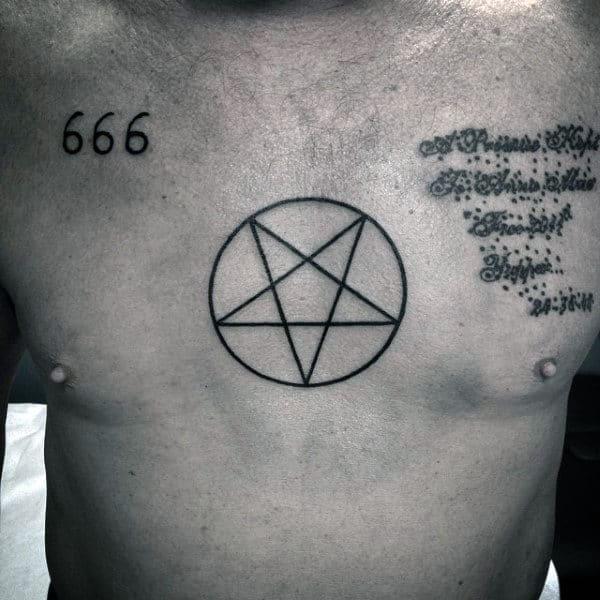 Simple Pentagram Tattoo Guys Chest