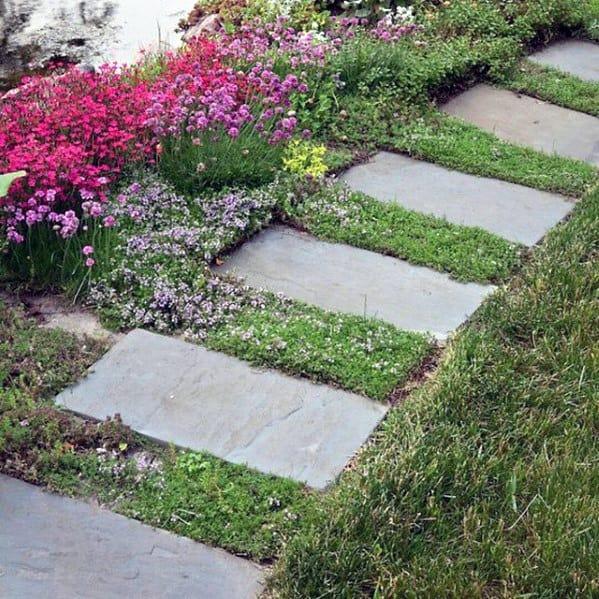 Simple Rectangle Slate Stone Walkway