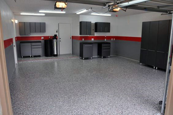 Simple Red And Grey Paint Garage Walls With Black Cabinets