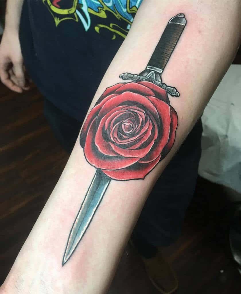 simple rose and dagger tattoos jason_drake