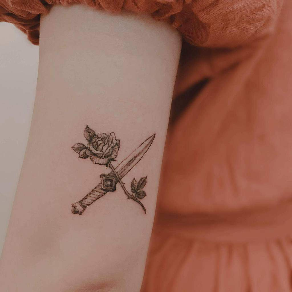 simple rose and dagger tattoos tattoobyjeein