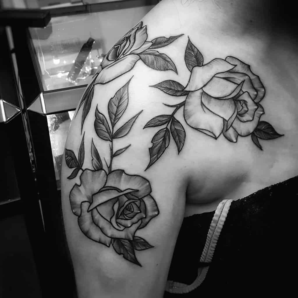 simple rose shoulder tattoos jassytattoo