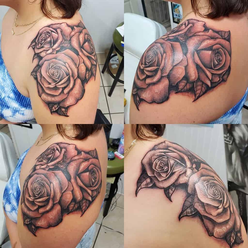 simple rose shoulder tattoos matthewbrowntattoo