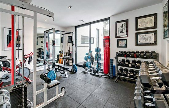 Simple Rubber Squares Home Gym Flooring Ideas