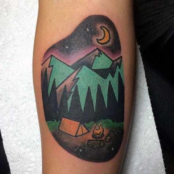 Simple Shaded Camping In Wood Scene Tattoo On Forearm On Man