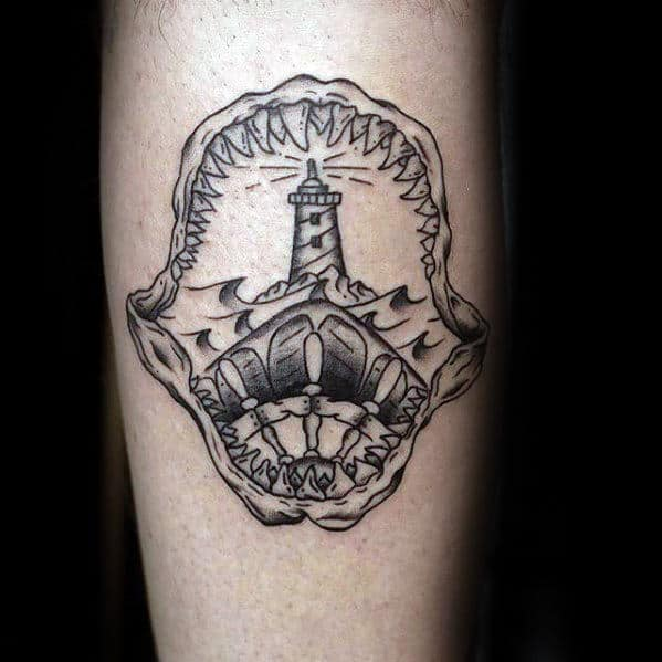 Simple Shark Jaw Lighthouse Male Arm Tattoos