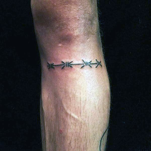 Simple Small Barbed Wire Armband Tattoo On Leg