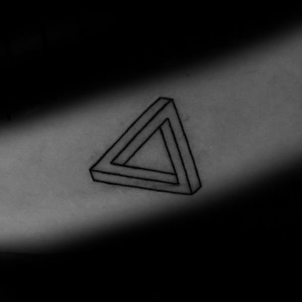 Simple Small Black Ink Outline Forearm Male Penrose Triangle Tattoo Ideas