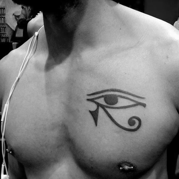 Simple Small Eye Of Horus Black Ink Tattoo On Man