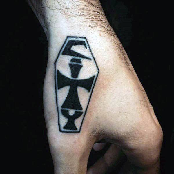 Simple Small Tribal Hand Tattoos For Men With Coffin Design