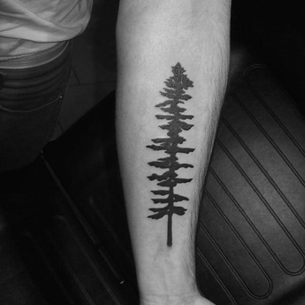 Simple Solid Black Ink Forearm Male Tree Tattoos