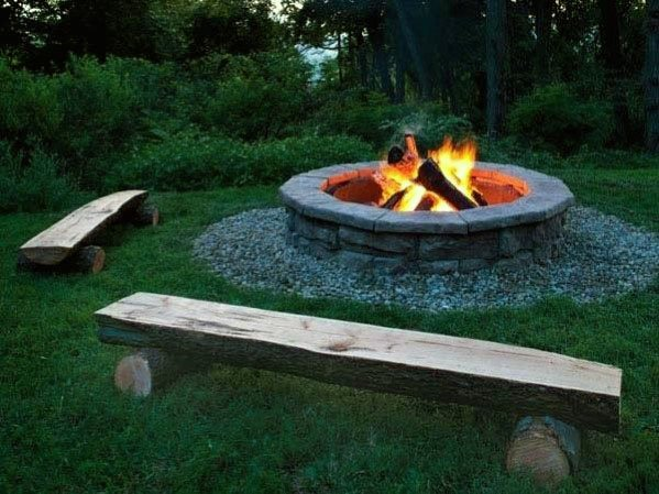 Simple Split Log Fire Pit Seating