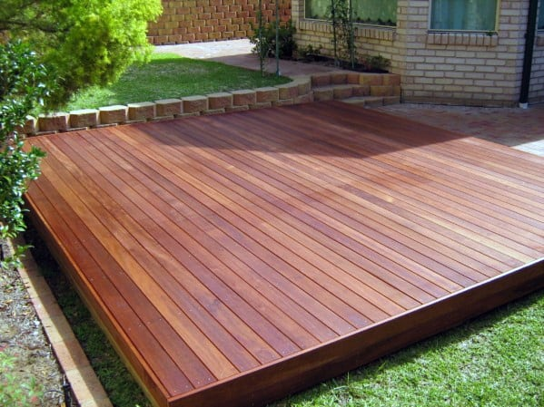 Simple Square Wood Floating Deck Ideas
