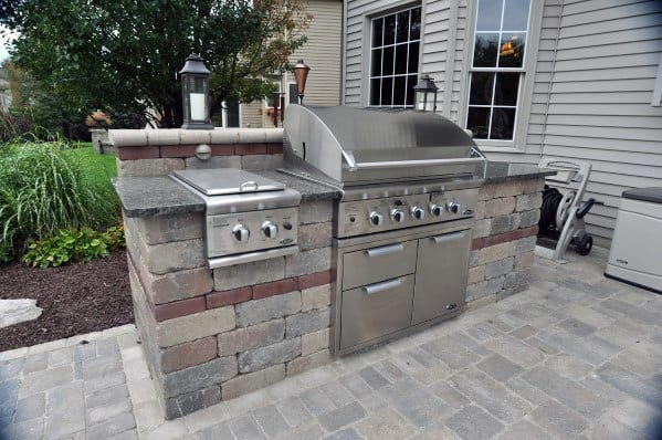 Simple Stone Excellent Backyard Ideas Built In Grill