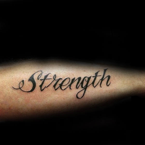 Simple Strength Outer Forearm Tattoo On Gentleman