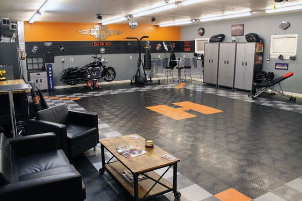 harley garage ideas - 50 Garage Paint Ideas For Men Masculine Wall Colors And