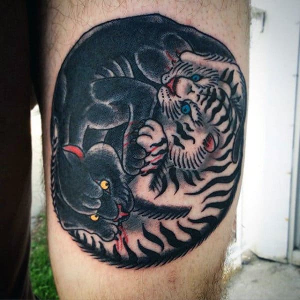 Simple Tiger Mens Yin Yang Tattoo