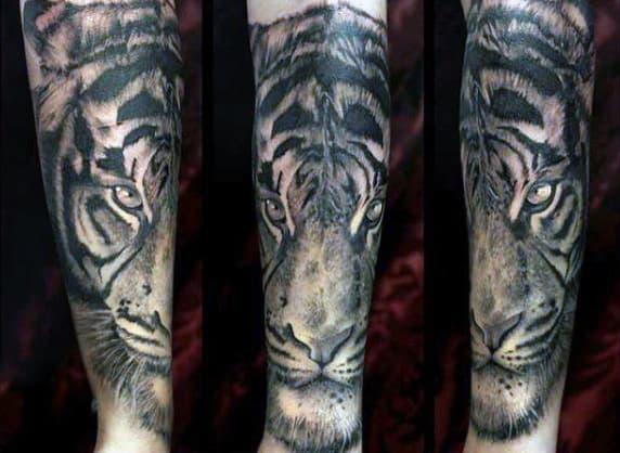 Simple Tiger Tattoo On Men