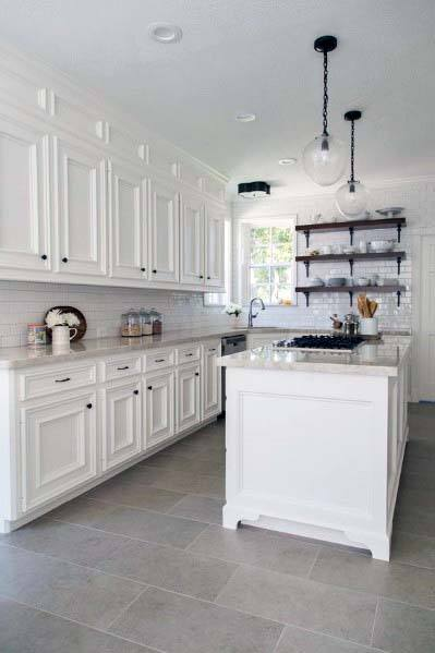 Simple Traditional Kitchen Tile Floor Interior Design