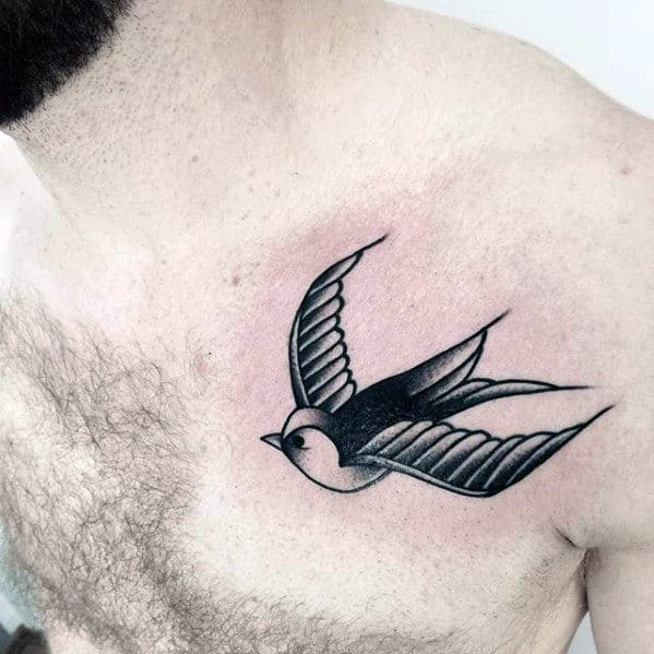70 traditional swallow tattoo designs for men old school