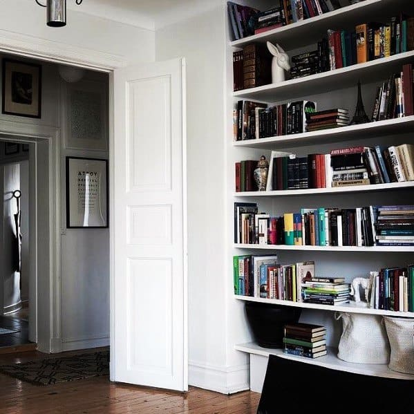 Simple Wall Interior Ideas Floor To Ceiling Bookshelves
