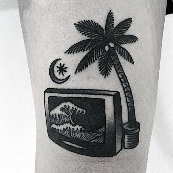 Simple Wave Inside Television Mens Arm Tattoo