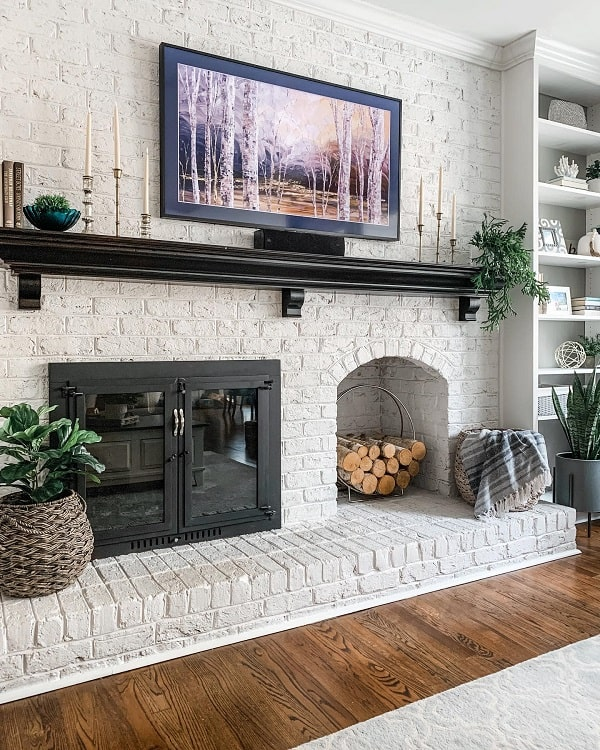 Simple White Brick Fireplace Surround Revealmydiy