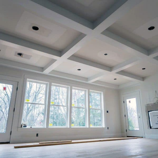 Simple White Painted Drywall Coffered Ceiling Living Room Ideas