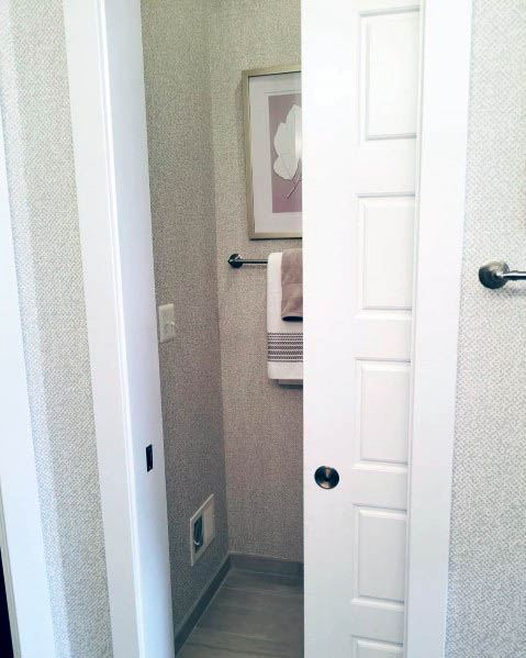 Simple White Pocket Door For Half Bath