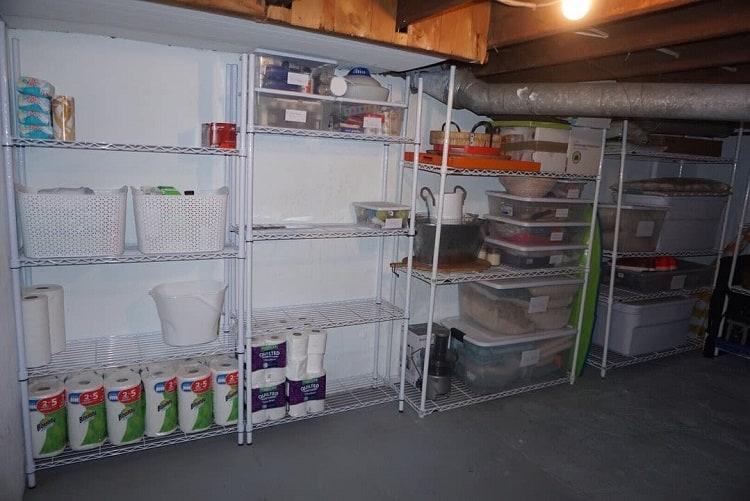 Simple White Shelf Basement Storage