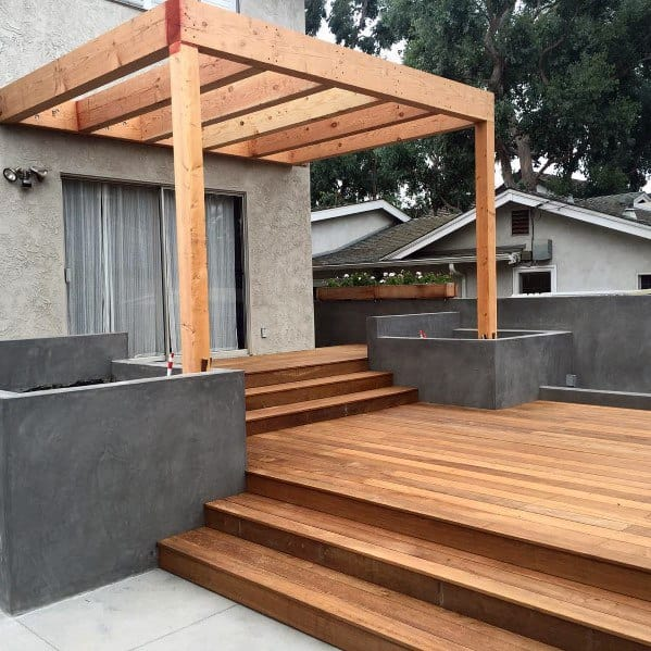 Simple Wood Backyard Deck Roof Design